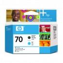 HP originální tisková hlava C9404A, No.70, matte black/cyan, HP Photosmart Pro B9180, Designjet Z2100, Z3100