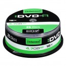 Intenso DVD-R, 4101154, 25-pack, 4.7GB, 16x, 12cm, Standard, cake box, bez možnosti potisku