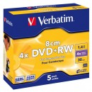 Verbatim DVD+RW, 43565, DataLife PLUS, 5-pack, 1.46GB, 4x, 8cm, Mini, General, ScratchGuard, jewel box, Matte hardcoated, bez možn