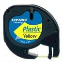 Dymo originální páska do tiskárny štítků, Dymo, 59423, S0721570, černý tisk/žlutý podklad, 4m, 12mm, LetraTag plastová páska
