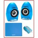 Logo Set Myš+podložka+repro Blue edition, optická, 3tl., 1 kolečko, drátová (USB), modrý, 800DPI