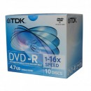 TDK DVD-R, t19408, 10-pack, 4.7GB, 16x, 12cm, General, Standard, jewel box, bez možnosti potisku