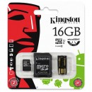 Kingston Micro SDHC Card Class 10 Gen2 - Mobility Kit, 16GB, micro SDHC, MBLY10G2/16GB, UHS-I U1 (Class 10), se čtečkou a adaptére