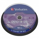 Verbatim DVD+R, 43666, DataLife PLUS, 10-pack, 8.5GB, 8x, 12cm, General, Double Layer, cake box, Matt Silver, bez možnosti potisku