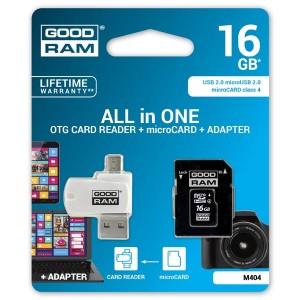 Goodram All-In-ONe, 16GB, multipack, M404-0160R11, Class 4, se čtečkou a adaptérem