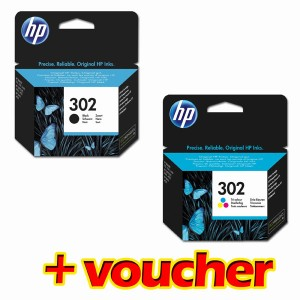 HP originalní ink PROMO F6U65AE + F6U66AE, HP 302, color, 165/165/165str., 4ml, HP OJ 3830,3834,4650, DJ 2130,3630,1010, Envy 4520