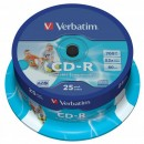 Verbatim 43439, DataLife PLUS, 25-pack, 700 Super Azo, 52x, 80min., CD-R, 12cm, Wide Printable, cake box, Standard, pro archivaci
