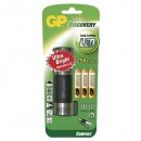 LED svítilna, 3xAAA, kovová, černo-stříbrná, GP LCE203 + 3 x AAA baterie GP Ultra