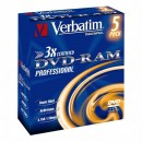Verbatim DVD-RAM, 43491, DataLife PLUS, 5-pack, 4.7GB, 2-4x, 12cm, General, Hardcoated, jewel box, Rewritable, bez možnosti potisk