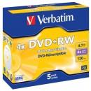 Verbatim DVD+RW, 43229, DataLife PLUS, 5-pack, 4.7GB, 4x, 12cm, General, Standard, jewel box, Scratch Resistant, bez možnosti poti
