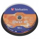 Verbatim DVD-R, 43523, DataLife PLUS, 10-pack, 4.7GB, 16x, 12cm, General, Advanced Azo+, cake box, Scratch Resistant, bez možnosti