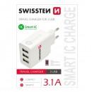 Síťový adaptér, 3x USB 3,1A, 100V - 240V, 5V, SWISSTEN