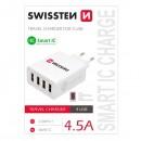 Síťový adaptér, 4x USB 4,5A, 100V - 240V, 5V, SWISSTEN