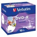 Verbatim DVD+R, 43508, DataLife PLUS, 10-pack, 4.7GB, 16x, 12cm, General, Advanced Azo+, jewel box, Wide Printable, pro archivaci