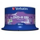 Verbatim DVD+R, 43758, Double Layer, 50-pack, 8.5GB, 8x, 12cm, General, Matt Silver, cake box, pro archivaci dat