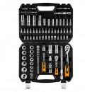 Sada nástrčných klíčů, 08-664, ráčny, nástrčné hlavice, šroubovací bity, z chrom-vanadiové oceli, Neo Tools